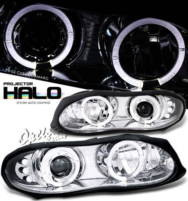 Chevy Camaro 1998-2002 Clear Dual Halo Projector Headlights with Integrated LED