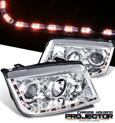 VW Jetta 1999-2004 Clear Projector Headlights with LED DRL