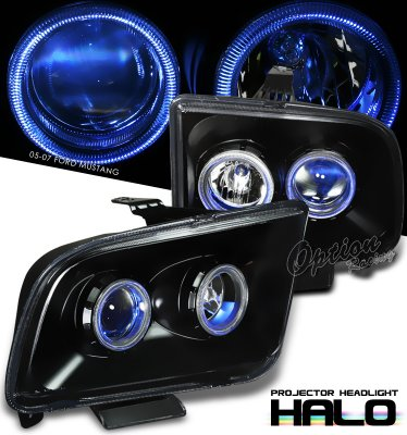 Ford Mustang 2005-2009 Black Dual Halo Projector Headlights