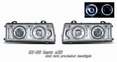 BMW E36 3 Series 1992-1998 Clear Dual Halo Projector Headlights