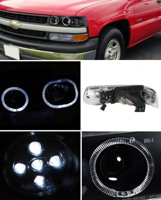 Chevy Silverado 1999-2002 Black LED Halo Projector Headlights