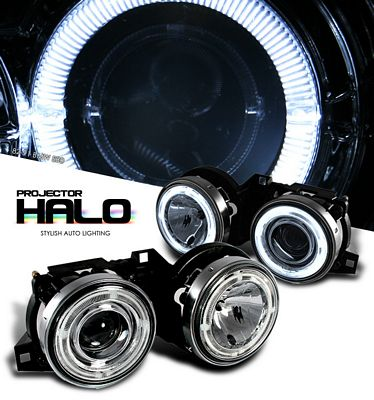BMW E30 3 Series 1982-1991 Clear Dual CCFL Halo Projector Headlights
