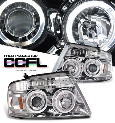 Ford F150 2004-2008 Clear Dual CCFL Halo Projector Headlights