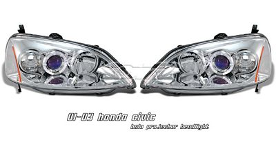 Honda Civic 2001-2003 Clear Halo Projector Headlights