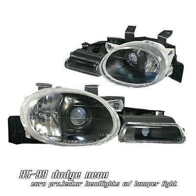 Dodge Neon 1995-1999 Black Projector Headlights with Bumper Lights