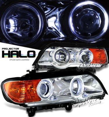 BMW X5 2001-2003 Clear Dual Halo Projector Headlights