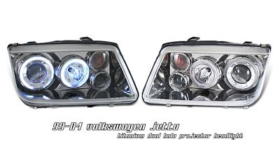 VW Jetta 1999-2004 Smoked Dual Halo Projector Headlights