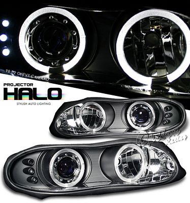 Chevy Camaro 1998-2002 Black Dual Halo Projector Headlights with LED