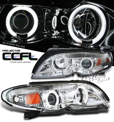 BMW E46 Sedan 3 Series 2002-2005 Clear Dual CCFL Halo Projector Headlights