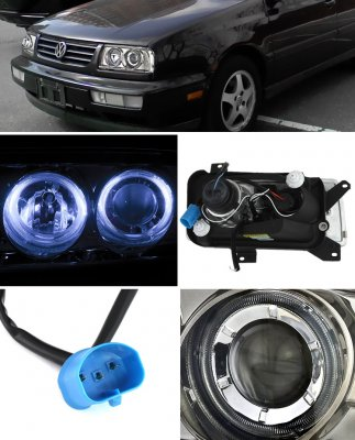 VW Jetta 1993-1998 Titanium Halo Projector Headlights