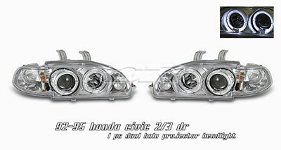 Honda Civic 1992-1995 Anzo Clear Dual Halo Projector Headlights