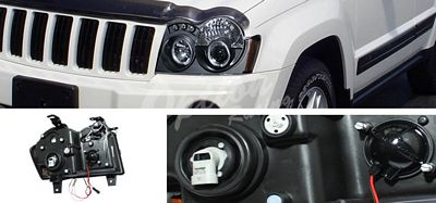 Jeep Grand Cherokee 2005 2007 Black Halo Projector