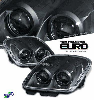 Chevy Corvette 1997-2004 Depo Black Le Mans Style Projector Headlights