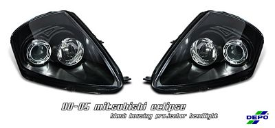 Mitsubishi Eclipse 2000-2005 Depo Black Projector Headlights