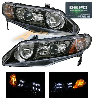 Honda Civic Sedan 2006-2008 Depo Black Projector Headlights with Integrated LED