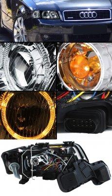 Audi A6 1997-2001 Depo Black Dual Halo Projector Headlights