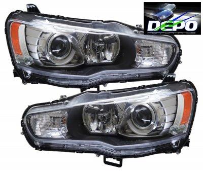 Mitsubishi Lancer 2008-2015 Depo Black Projector Headlights
