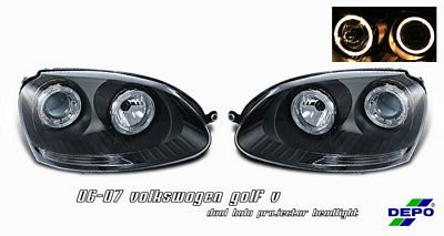 VW Rabbit 2006-2009 Depo Black Dual Halo Projector Headlights