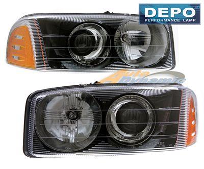 GMC Sierra Denali 2002-2006 Depo Black Projector Headlights