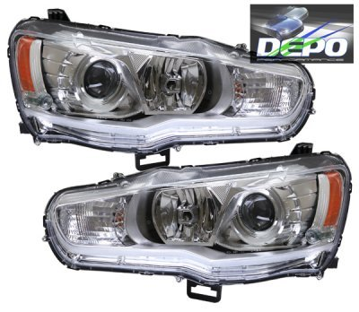 Mitsubishi Lancer 2008-2013 Depo Chrome Projector Headlights