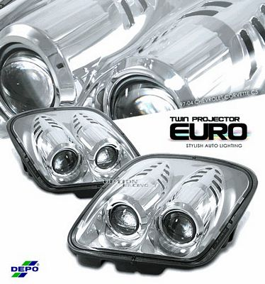 Chevy Corvette 1997-2004 Depo Clear Le Mans Style Projector Headlights