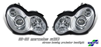 Mercedes Benz C Class 2001-2006 Depo Clear Projector Headlights