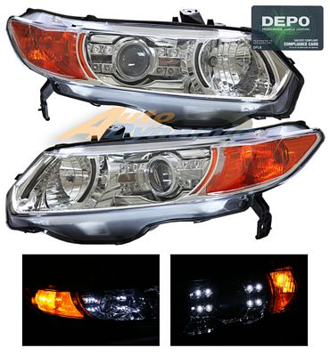 Honda Civic Coupe 2006-2011 Depo Clear Projector Headlights with Integrated LED
