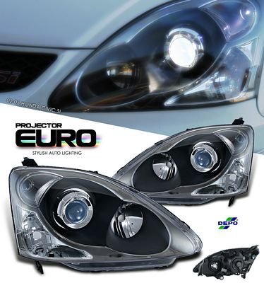 Honda Civic Si Hatchback 2002-2005 Depo Black Projector Headlights