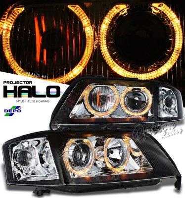 1999 Audi A6 Depo Black Dual Halo Projector Headlights