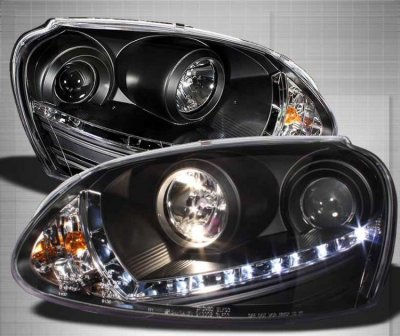 Vw Golf 2006 2009 Black Hid Projector Headlights Led Drl