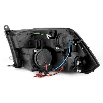 Dodge Ram 2009-2016 Black Smoked Halo Projector Headlights LED DRL