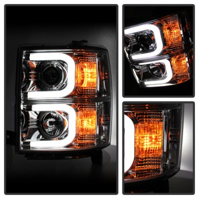 Chevy Silverado 2014-2015 Chrome Projector Headlights LED DRL
