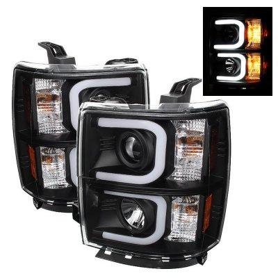 Chevy Silverado 2014-2015 Black Projector Headlights LED DRL