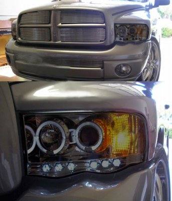 Dodge Ram 3500 2003 2005 Smoked Halo Projector Headlights With Led