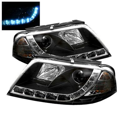 VW Passat 2001-2005 Black Projector Headlights with LED Daytime Running Lights