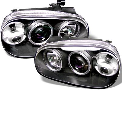 VW Golf 1999-2005 Black Dual Halo Projector Headlights