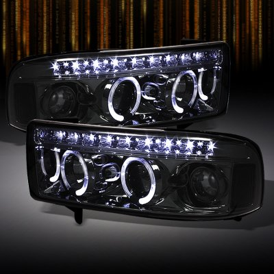 Dodge Ram 2500 1994 2002 Smoked Halo Projector Headlights With Led Drl A103j2cu101 Topgearautosport