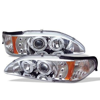 Ford Mustang 1994-1998 Clear Dual Halo Projector Headlights with Integrated LED