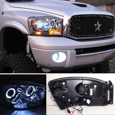 Dodge Ram 2500 2006 2009 Clear Dual Halo Projector Headlights Led