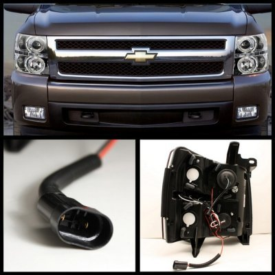 Chevy Silverado 2500HD 2007-2014 Clear Dual Halo Projector Headlights with LED