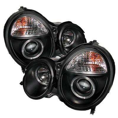 Mercedes Benz E Class 2000-2002 Black Dual Halo Projector Headlights