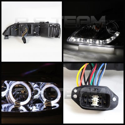 Mazda 6 2003-2005 Smoked Halo Projector Headlights with LED DRL