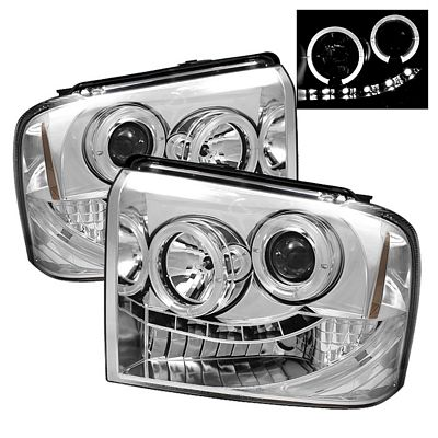 Ford F250 Super Duty 2005-2007 Clear Halo Projector Headlights with LED