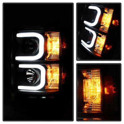 Chevy Silverado 2014-2015 Black Projector Headlights LED DRL