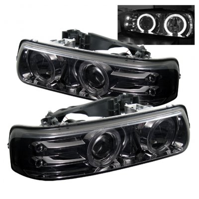 Chevy Silverado 1999-2002 Smoked Halo Projector Headlights with LED