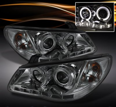 Hyundai Elantra 2007-2010 Smoked Halo Projector Headlights with LED DRL