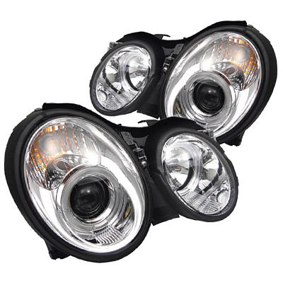Mercedes Benz CLK 1998-2002 Clear Dual Halo Projector Headlights
