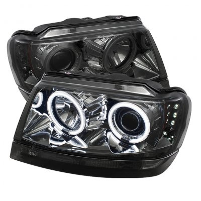 Attractive Jeep Grand Cherokee 1999 2004 Smoked CCFL Halo Projector Headlights With LED