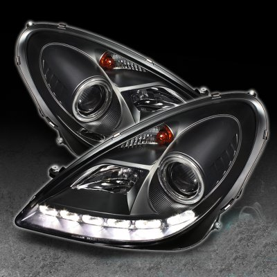 Ford F150 Headlights >> Mercedes Benz SLK 2005-2011 Black Projector Headlights with LED Daytime Running Lights ...