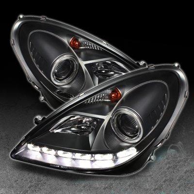 Mercedes Benz SLK 2005-2011 Black Projector Headlights with LED Daytime Running Lights